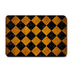Square2 Black Marble & Yellow Grunge Small Doormat