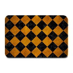 Square2 Black Marble & Yellow Grunge Plate Mats