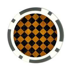 Square2 Black Marble & Yellow Grunge Poker Chip Card Guard