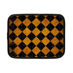 Square2 Black Marble & Yellow Grunge Netbook Case (small)
