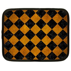 Square2 Black Marble & Yellow Grunge Netbook Case (large)