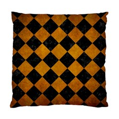 Square2 Black Marble & Yellow Grunge Standard Cushion Case (two Sides)