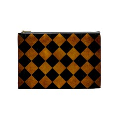 Square2 Black Marble & Yellow Grunge Cosmetic Bag (medium)