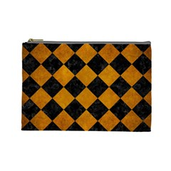 Square2 Black Marble & Yellow Grunge Cosmetic Bag (large)