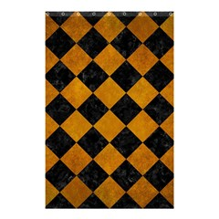 Square2 Black Marble & Yellow Grunge Shower Curtain 48  X 72  (small)