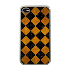 Square2 Black Marble & Yellow Grunge Apple Iphone 4 Case (clear)