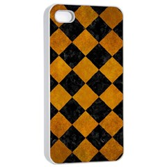 Square2 Black Marble & Yellow Grunge Apple Iphone 4/4s Seamless Case (white)