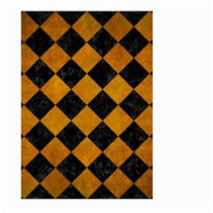Square2 Black Marble & Yellow Grunge Large Garden Flag (two Sides)
