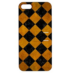 Square2 Black Marble & Yellow Grunge Apple Iphone 5 Hardshell Case With Stand
