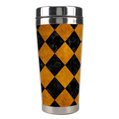 Square2 Black Marble & Yellow Grunge Stainless Steel Travel Tumblers