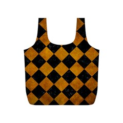 Square2 Black Marble & Yellow Grunge Full Print Recycle Bags (s)