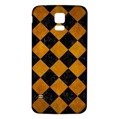 Square2 Black Marble & Yellow Grunge Samsung Galaxy S5 Back Case (white)