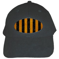 Stripes1 Black Marble & Yellow Grunge Black Cap