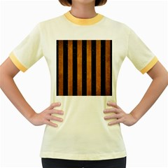 Stripes1 Black Marble & Yellow Grunge Women s Fitted Ringer T Shirts