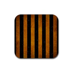 Stripes1 Black Marble & Yellow Grunge Rubber Coaster (square)