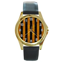 Stripes1 Black Marble & Yellow Grunge Round Gold Metal Watch