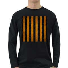 Stripes1 Black Marble & Yellow Grunge Long Sleeve Dark T Shirts