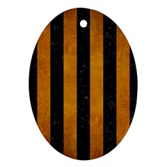 Stripes1 Black Marble & Yellow Grunge Oval Ornament (two Sides)