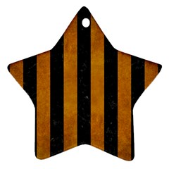 Stripes1 Black Marble & Yellow Grunge Star Ornament (two Sides)
