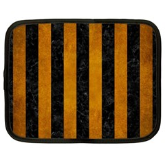 Stripes1 Black Marble & Yellow Grunge Netbook Case (large)