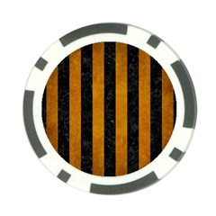 Stripes1 Black Marble & Yellow Grunge Poker Chip Card Guard (10 Pack)