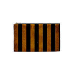 Stripes1 Black Marble & Yellow Grunge Cosmetic Bag (small)