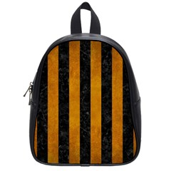 Stripes1 Black Marble & Yellow Grunge School Bag (small)