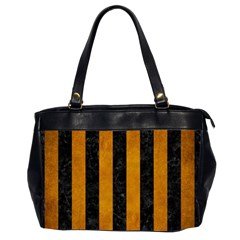 Stripes1 Black Marble & Yellow Grunge Office Handbags (2 Sides)