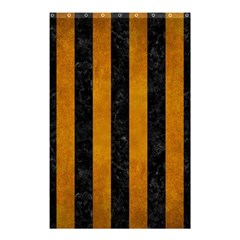 Stripes1 Black Marble & Yellow Grunge Shower Curtain 48  X 72  (small)