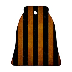 Stripes1 Black Marble & Yellow Grunge Ornament (bell)