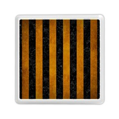 Stripes1 Black Marble & Yellow Grunge Memory Card Reader (square)