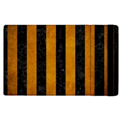 Stripes1 Black Marble & Yellow Grunge Apple Ipad 2 Flip Case