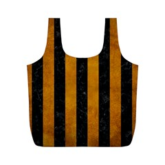 Stripes1 Black Marble & Yellow Grunge Full Print Recycle Bags (m)