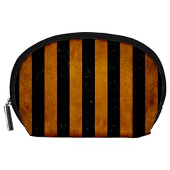 Stripes1 Black Marble & Yellow Grunge Accessory Pouches (large)