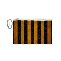 Stripes1 Black Marble & Yellow Grunge Canvas Cosmetic Bag (s)