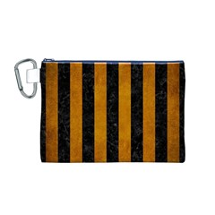 Stripes1 Black Marble & Yellow Grunge Canvas Cosmetic Bag (m)
