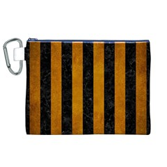 Stripes1 Black Marble & Yellow Grunge Canvas Cosmetic Bag (xl)