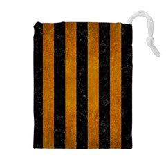 Stripes1 Black Marble & Yellow Grunge Drawstring Pouches (extra Large)