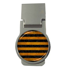 Stripes2 Black Marble & Yellow Grunge Money Clips (round)