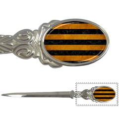 Stripes2 Black Marble & Yellow Grunge Letter Openers