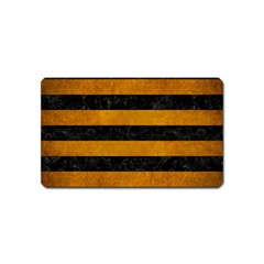 Stripes2 Black Marble & Yellow Grunge Magnet (name Card)