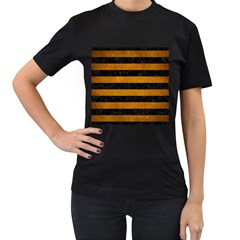 Stripes2 Black Marble & Yellow Grunge Women s T Shirt (black) (two Sided)