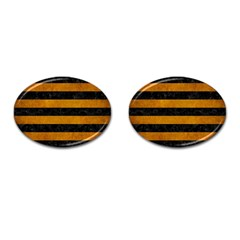 Stripes2 Black Marble & Yellow Grunge Cufflinks (oval)