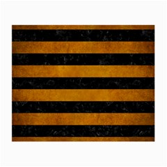 Stripes2 Black Marble & Yellow Grunge Small Glasses Cloth (2 Side)