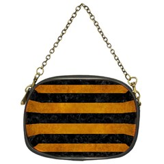 Stripes2 Black Marble & Yellow Grunge Chain Purses (one Side)