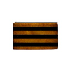Stripes2 Black Marble & Yellow Grunge Cosmetic Bag (small)