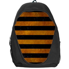 Stripes2 Black Marble & Yellow Grunge Backpack Bag
