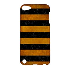 Stripes2 Black Marble & Yellow Grunge Apple Ipod Touch 5 Hardshell Case