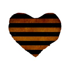 Stripes2 Black Marble & Yellow Grunge Standard 16  Premium Flano Heart Shape Cushions