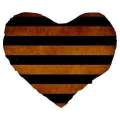 Stripes2 Black Marble & Yellow Grunge Large 19  Premium Flano Heart Shape Cushions